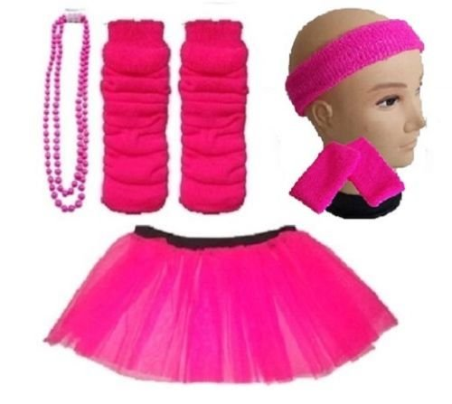 Girls 8-12 Years - Neon Tutu, Headband, Wristbands, Legwarmers & Beads Necklace - choice of colours