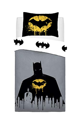 Sleepdown Warner Brothers Reversible Printed Batman Dark Knight Poly Cotton Duvet Quilt Cover Set, 2 Pcs - Single Best Price and Cheapest