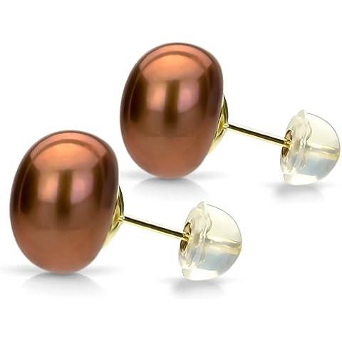 14 K amarillo oro Chocolate 7-8mm botón cultivadas de forma pendiente del perno prisionero de la perla de alto