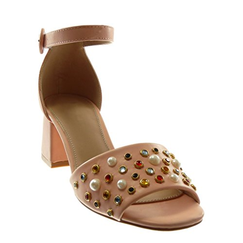 Angkorly Scarpe Moda Sandali Decollete con Tacco con Cinturino Alla Caviglia Donna Tanga Gioielli Perla Tacco a Blocco Alto 6 cm Rosa