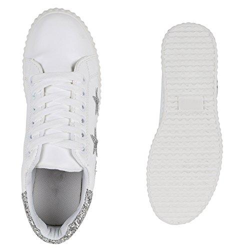Damen Sneakers Metallic Zipper Sportschuhe Lederoptik Plateau Weiss Silber