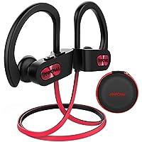 Mpow Auriculares Bluetooth Deportivos, V4.1 Impermeable IPX7 In-Ear Cascos Inalámbricos,Auricular Running Deporte Correr con Micrófono,Cancelación de Ruido CVC 6.0 para iPhone(Negro/Rojo EVA Bolsa)
