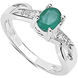 The Emerald Ring Collection: Beautiful Sterling Silver Oval Emerald Engagement Ring & Diamond Set Shoulders, Mother's Day Gift, Ring Size I,J,K,L,M,N,O,P,Q,R,S,T,U,V