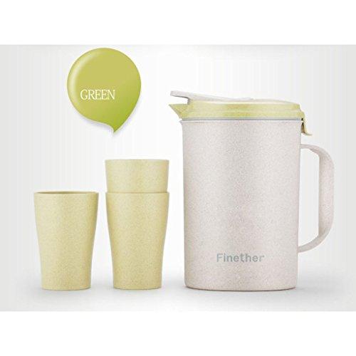 Finether Jarra para Agua (4 Piezas  Un Jarro  3 Vasos  Material de la Paja de Trigo  Ecológico  Sano  Conveniente  Seguro) Verde