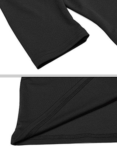 Meaneor Damen Elegantes Etuikleid Businesskleid Jerseykleid knielang mit 3/4-Arm mit Rundhalsausschnitt Stretch Kleid Schwarz