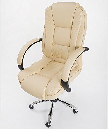 Poltrona da ufficio sedia girevole da scrivania in ecopelle traspirante color beige - modello cover