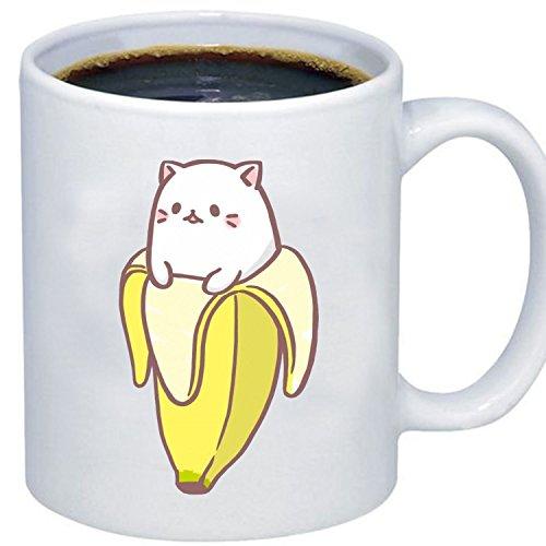 ZMvise Custom Art Entertainment Kawaii Things Cat Banana weiße keramik becher cup perfekt weihnachten thanksgiving gfit Plastic Liner Travel Mug