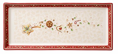 Villeroy & Boch Winter Bakery Delight Plat à gâteau rectangle, Porcelaine Premium, Blanc/Rouge/Beige