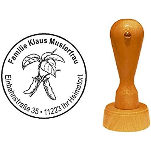 Sello sellos de madera diseño sello « granos de soja » con Personal–Jardín de direcciones Gärtner vegetarianos Veggie soja