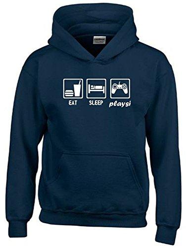 EAT SLEEP PLAYSI Kinder Sweatshirt mit Kapuze HOODIE navy-weiss, Gr.164cm