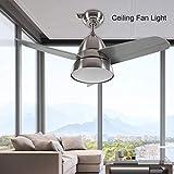 GOTOTO Ventilateur de Plafond avec Télécommande et Lumière LED à 3 Couleurs, Ventilateur de Plafond Silencieux, Éclairage Intérieur, Rayon du Ventilateur 35cm et Lampe Diamètre 26cm(Sable Nickel)