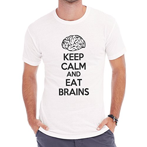 Keep Callm And Eat Brains Herren T-Shirt Weiß
