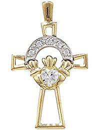 9ct Yellow and White Gold Cubic Zirconia Claddagh Cross Pendant On A Belcher Necklace