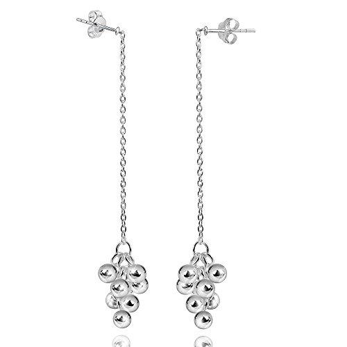 MATERIA 925 Silber Ohrhänger lang TRAUBE 11x86mm - Hängende Ohrringe Kugeln mit Box #SO-239