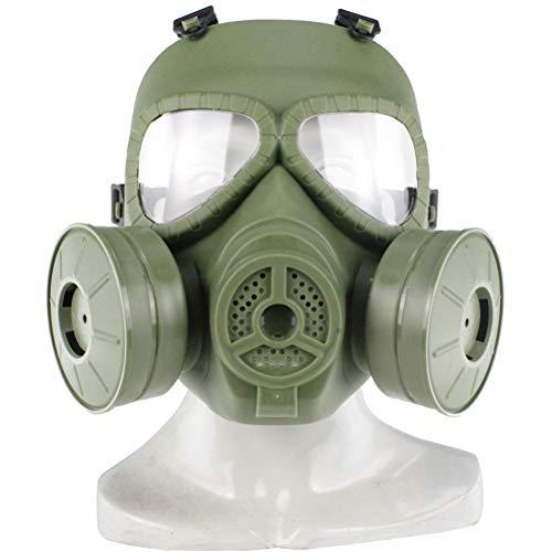 UKCOCO Taktische Gasmaske Airsoft Schutzmaske Volles Gesicht Augenschutz Schädel Dummy Toxische Gasmaske für BB Gun CS Cosplay Kostüm Halloween Maskerade (grün MA-85-OD)