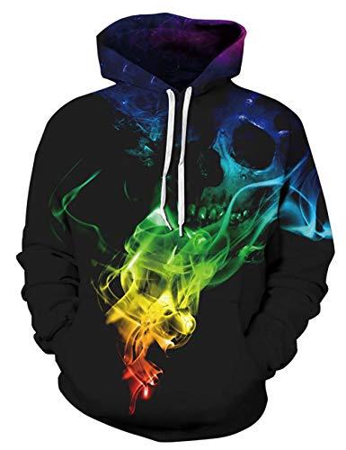 ALISISTER 3D Hoodie Männer Damen Skull Gedruckt Hooded Kapuzenpullover Sweatshirt Lässige Kordelzug Pullover Hoody L/XL