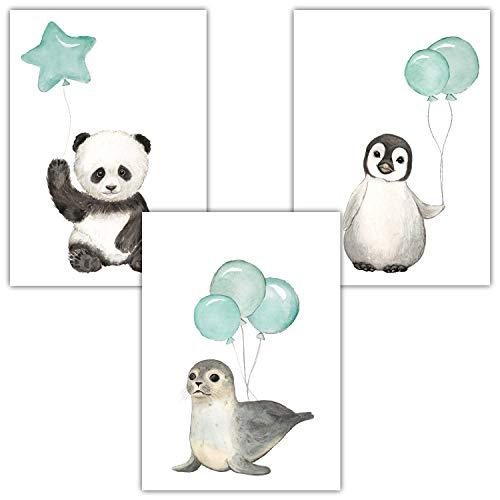 Frechdax® 3er Set Kinderzimmer Poster Baby Bilder DIN A4 | Waldtiere Safari Afrika Tiere Tierposter Luftballon Ballon Farbwahl (3er Set Mint, Pinguin, Panda, Seehund)