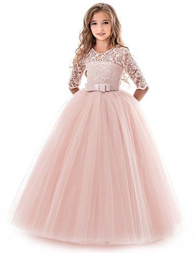NNJXD Mädchen Festzug Stickerei Prom Kleider Prinzessin Hochzeit Kleidung Größe(130) 7-8 Jahre...