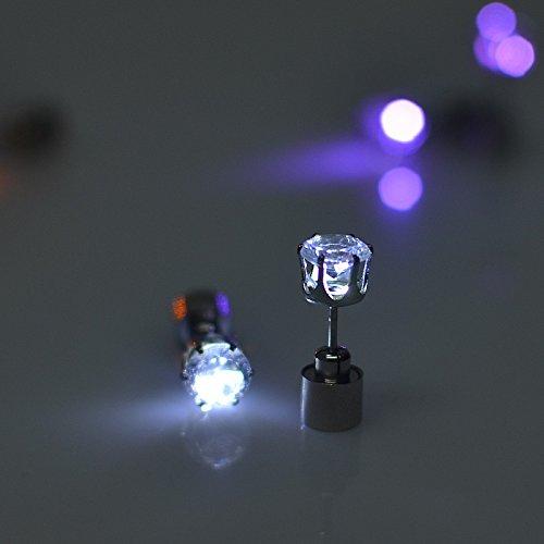 Einer Modeschmuck Ein Art Von (Namsan 1 Paar LED Ohrringe Glowing Light Up mit Diamant-Kronen-Art-Ohr-Bolzen-Tropfen-hängende Edelstahl für Party-Partei-Weiß)