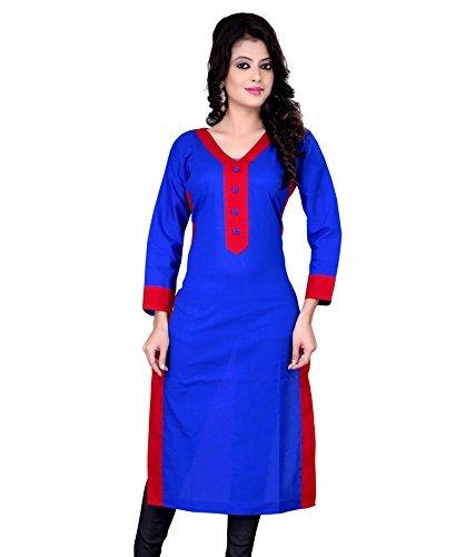 KanishaTrendz Women's Cotton 3/4 Sleeve Plain/Solid Semi-Stitched Casual Kurti (Blue-Colour)