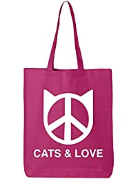 Cats & Love Cotton Canvas Tote Bag In Hot Pink - One Size