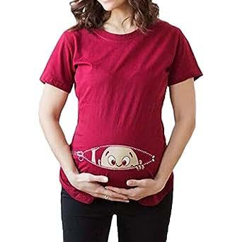 JiXuan Femmes Imprimer Pregnants Chemisier Allaitement Casual Bébé ... d251604cee7