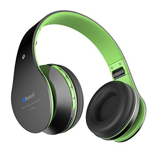 Aita BT809 Auriculares con Micrófono, MP3 Player, MicroSD / TF Música, Radio FM Digital, 4 en 1 Multifuncional Estéreo Inalámbrico Bluetooth 4.1 + EDR Manos Libres para iPhone, Smartphone, Tablet, MP3 etc. Para adolescentes y adultos (Negro-verde)