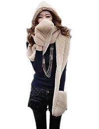 Decus 3-in-1 Fashion Multifunktions-Schal(Mütze,Handschuhe) Damen Winter Schal Super Warm DLH