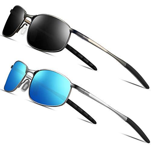 FEIDU Sportbrille Sonnenbrille Herren Polarisierte-HD Lens Metal Frame Driving Shades FD 9005 (2er pack-Schwarz/Gun-Blau, 57)