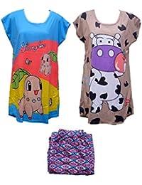 Jyoti Fancy Women's Night Suit T-shirt Combo Set Of 3 Item [ 2 T-shirt + 1 Pajama ] Women'sTop And Pajama Set...
