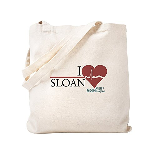 CafePress I Heart Sloan - Grey's Anatomy Tote Bag, canvas, khaki, S