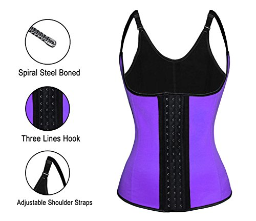 Charmian Women's Spiral Steel Boned Latex Waist Training Cincher Corset Vest Latex vest-purple