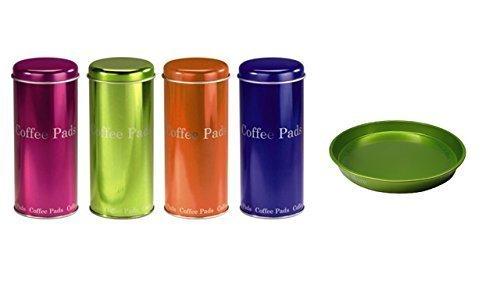 Kaffee Pad Behälter 4-er Set Neon Pink/Grün/Orange/Blau (grün)