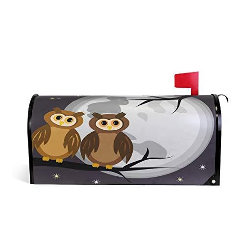 Alaza(mailbox cover) WOOR Briefkastenabdeckung, Motiv Zwei Eulen eines Baumes bei Nacht mit Mond und Sternen, magnetisch, 50,8 x 63,5 cm 25.5x20.8 inch Oversized