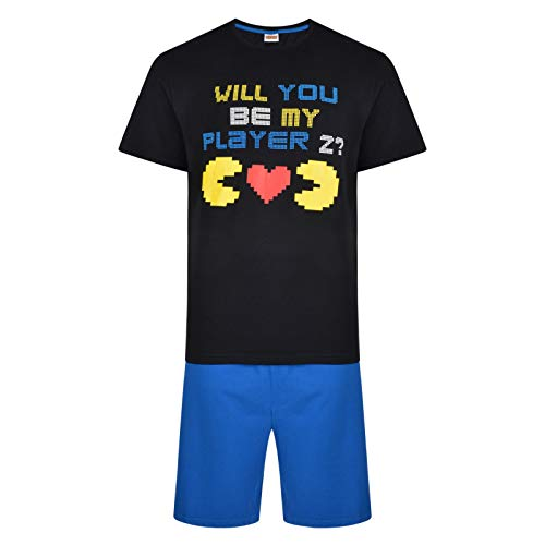Mens Short Pac Man Will You Be My Player 2 Pyjamas - S to XXL