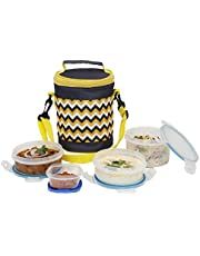 SimpArte Lock & Seal Lunch Box, 4-Pieces, Blue (Striped Yellow Bag)