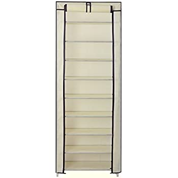 songmics 10 tier shoe rack cabinet for 27 pairs of shoes standing storage organizer beige 58 x 28 x 160 cm rxj10m