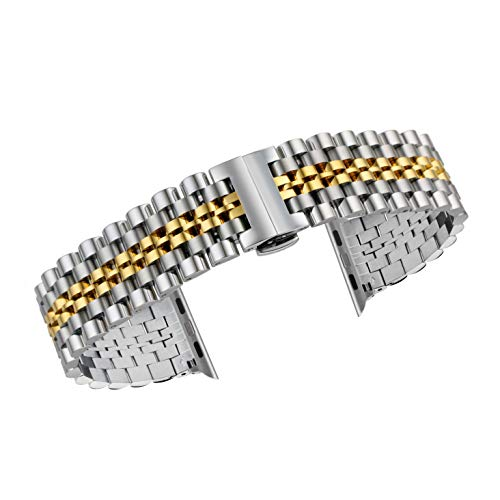 Daptsy Bänder kompatibel für Apfel Uhr 38mm 42mm Edelstahl-Metall-Gliederarmband Ersatzband mit Doppel-Taste Schmetterlinge Faltschließe Bänder kompatibel 38mm Silber & Gold