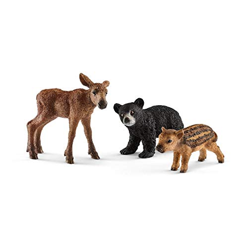 Schleich Wild Life- Set 3 figures Animals of the Forest. Black bear cub, moose and jab.