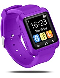 Colofan SmartWatch U8 de lujo Bluetooth inteligente del reloj del reloj del tel¡§|fono con pantalla t¡§¡éctil de la c¡§¡émara para iOS Iphone Android Smartphone Samsung Smartphone (morado)
