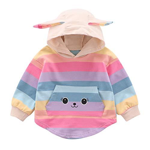 DIASTR Kinder Langarm-Kapuzenpullover mit Reißverschluss, Baby Mädchen Jungen Regenbogen Streifen Kapuzenmantel Hoodie Sweatshirt Outfits