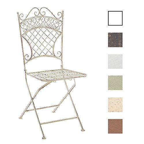 CLP Eisen-Klappstuhl ADELAR Design I Klappbarer Gartenstuhl mit edlen Verzierungen I erhältlich Antik Creme