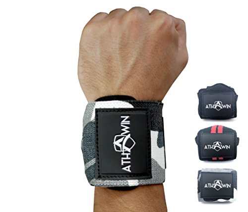 Handgelenk Bandagen   ATHWIN Wrist Wraps   Handgelenkstütze ohne Daumenschlaufe für Männer und Frauen   Ideal für Bodybuilding, Gewichtheben, Calisthenics, Freeletics & Cross fit   Camo Grey