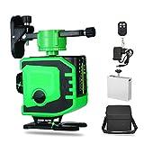 Livella laser Autolivellante Fascio verde 3D Misuratore di livello a 12 linee Fascio laser verde Linea di livello laser Laser Luce verde Indicatore di livello laser Linea trasversale verticale e