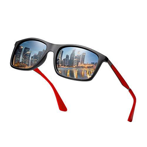 Gafas de Sol Mujer Gafas ,Gafas de Sol Mujer Polarizadas ,Gafas sol Hombre Polarizadas Aptos para Correr, Voleibol, Senderismo,Polarizadas Hombre de Moda Lentes UV400 Y Montura De TR-90( Gris +Rojo)