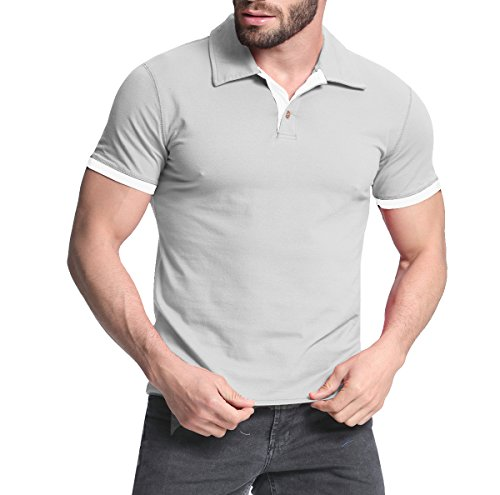 StyleDome Herrn Kurzarm Hemd Slim Fit Casual Polo Shirt Top Hemdshirt Hellgrau
