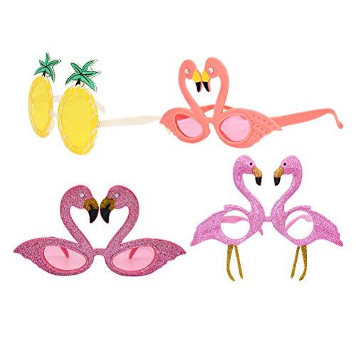 Amosfun 4 pcs Party Brille Ananas Brille Flamingo Brille Hawaii Kostüm Brille Tropisch Sonnenbrille Luna Party Foto Requisiten (Ananas Flamingo)