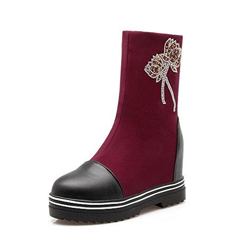 AllhqFashion Damen Blend-Materialien Hoher Absatz Rein Mitte-Spitze Ziehen auf Stiefel, Schwarz, 38
