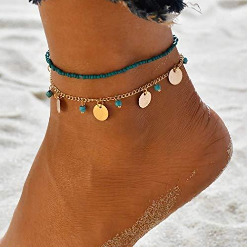 Yean Boho Türkis Fußkettchen Pailletten Knöchel Armband Mode Perlen Fuß Schmuck Kette für Frauen und Mädchen