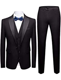 Tute da Uomo 3 Pezzi Slim Fit Wedding Suit Suit Tuxedo Giacca Formale Gilet  Pantaloni d2440854e25